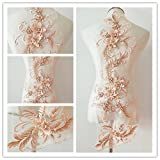 3D beaded flower sequence lace applique motif sewing bridal wedding 3in1 20cmx72cm (Peach) (Color: Peach)