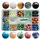 Chengmu 8mm Stone Beads Kit for Jewelry Making 230pcs Natural Gemstone Epidote Fluorite Sunstone Obsidian Assorted Color Round Loose Beads Set for Bracelet Necklace with Accessories Tools Color 2 (Color: 8mm Stone Beads kit Color 2, Tamaño: 8mm)