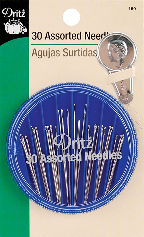 Dritz 160 Hand Needle Compact & Needle Threader, Assorted Sizes & Styles (30-Count) (Tamaño: Assorted Sizes & Styles)