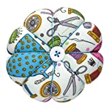 eZAKKA Pin Cushion Wrist Pins Cushions Wristband Wearable Needle Pincushions for Sewing Quilting Pins Holder (Sewing Necessities Pattern Green) (Color: Sewing Necessities Pattern Green)
