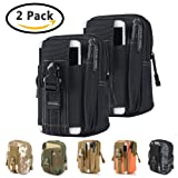 Tactical Waist Belt Bag | Universal Outdoor EDC Military Holster Waist Wallet Pouch Phone Case Gadget Pocket for iPhone X 8 7 6 6s Plus Samsung Galaxy S8 S7 S6 S5 S4 S3 Note 8 5 4 3 2 L (Black-2 Pack) (Color: Black-2 Pack)