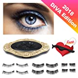 2018 DIVA EDITION - All in one 3 Styles 12 Pcs Premium Magnetic Eyelashes in Elegant Mirror Case plus Free Eyelash Applicator