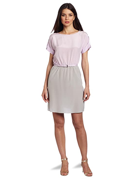 Donna Morgan Women's Waisted Color Block Dress with Belt