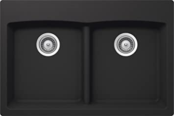 SCHOCK EDON200T010 EDO Series CRISTALITE 50/50 Topmount Double Bowl Kitchen Sink, Onyx