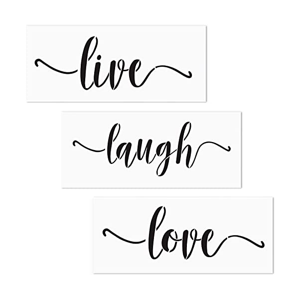 3 PCS Live Laugh Love Stencils AZDIY Reusable Stencil Set for Painting on Wood Laser Cut Painting Stencil for Home Décor & DIY Projects - Quote Word Stencil Set (Color: Live Laugh Love, Tamaño: Live Laugh Love)
