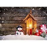 Leowefowa 7X5FT Christmas Backdrop Snowman Lantern Candles Red Balls Gifts Pine Twigs Winter Snow Vintage Stripes Wood Plank Happy New Year Vinyl Photography Background Kids Adults Photo Studio Props (Color: color033, Tamaño: 7x5ft)
