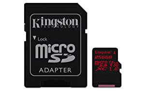 Kingston Digital SDCR/256GB Canvas React 256GB microSDXC Class 10 microSD Memory Card UHS-I 100MB/s R Flash Memory High Speed microSD Card with Adapter (Tamaño: 256GB)