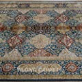 Yilong 5.6'x8.2' Handmade Silk Carpet Classic Oriental Persian Checkered Floral Pattern Hand Knotted Home Area Rugs (Multi) Q1843