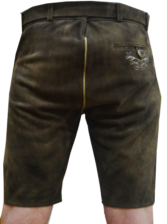 Edle Herren Wildbockleder Trachten Lederhose kurz braun mit GŸrtel günstig kaufen