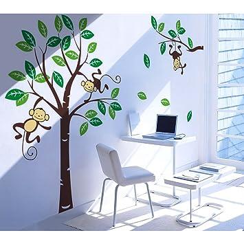 songmics 226 x 162cm gro b ume affen f r kinderzimmer wandtattoo fwt17m dc588. Black Bedroom Furniture Sets. Home Design Ideas