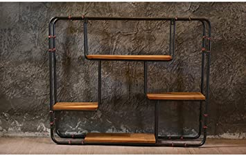 Estante, viento industrial Barra retro del restaurante Pared Hierro Colgante de pared Pared creativa Decoraciones suaves Colgante 91 * 16 * 75cm