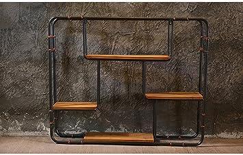 Estante, viento industrial Barra retro del restaurante Pared Hierro Colgante de pared Pared creativa Decoraciones suaves Colgante 91 * 16 * 75cm