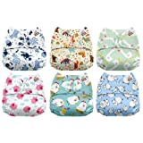 Mama Koala One Size Baby Washable Reusable Pocket Cloth Diapers, 6 Pack with 6 One Size Microfiber Inserts (Funky Farm) (Color: Funky Farm, Tamaño: One Size)