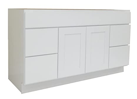 """NGY WS-6021D Vanity Cabinet Maple Wood, 60""""L, White Shaker"""