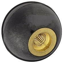 "DimcoGray Black Phenolic Ball Knob Female, Brass Insert: 8-32"" Thread x 5/16"" Depth, 3/4"" Diameter x 45/64"" Height x 3/8 Hub Dia (Pack of 10)"