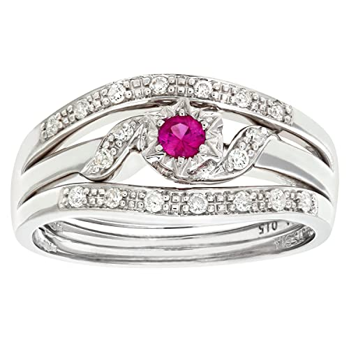 Naava 9ct White Gold Ladies Diamond and Pink Sapphire Ring