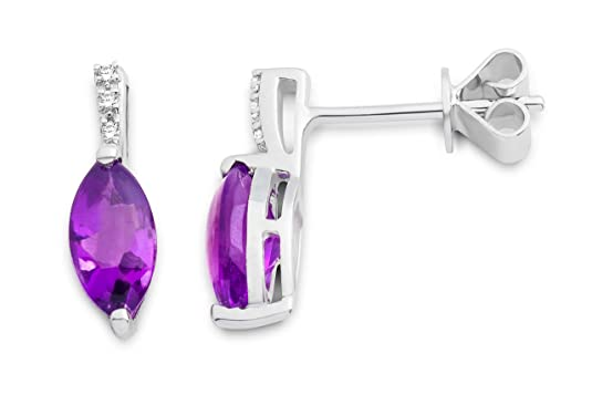 Miore Amethyst Pendant Earrings – 9 carat White Gold – MKW9088E