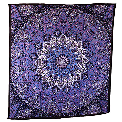 Handicrunch Hippie Mandala Tapestry, Blue Purple Tapestry Wall Hanging, Indian Tapestry, Large Table Runner Bed Cover Indian Art, Cotton Bohemian Tapestry, Hippie Tapestry, Cotton Bed Sheet, Decor Art Wall Hanging