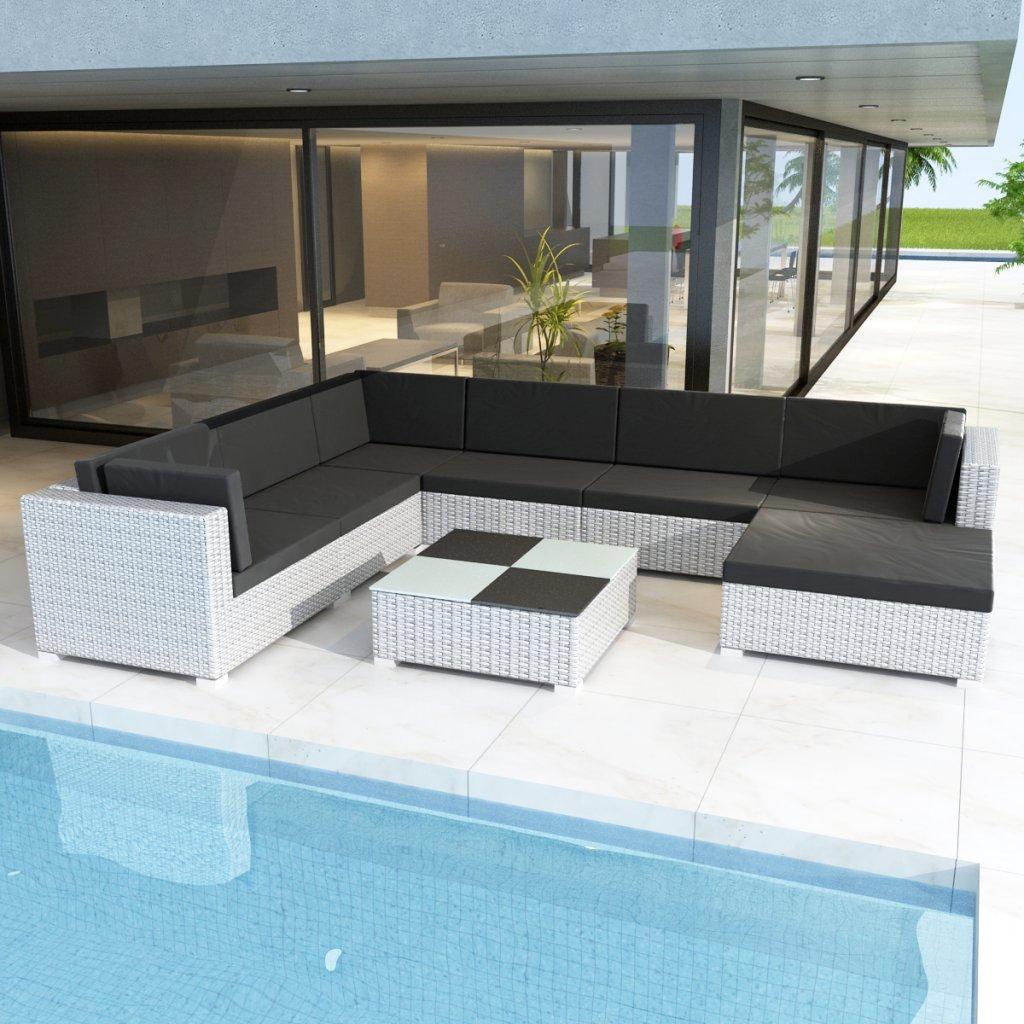 vidaXL Gartenmöbel Poly Rattan Set Lounge weiß 24-teilig günstig