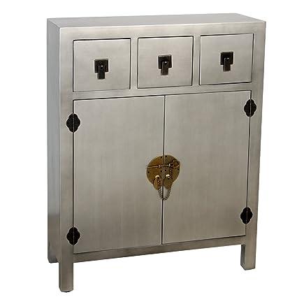 PAME 40623 - Mesa de entrada con 3 cajones y 2 puertas, madera , color plata