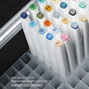 MEEDEN 120 Slots Marker Pen Case with Aluminum Alloy Case - Fashion Luxury Empty Holder Markers Organizer Carrying Case for Copic Touch Paint Markers, Hold Marker Height up to 6 1/3-In (Tamaño: 120 Slots)