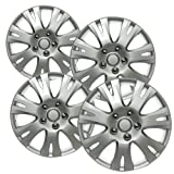OxGord 16 inch Hubcaps Best for 2009-2012 Mazda M - (Set of 4) Wheel Covers 16in Hub Caps Silver Rim Cover - Car Accessories for 16 inch Wheels - Snap On Hubcap, Auto Tire Replacement Exterior Cap (Tamaño: 4pc)