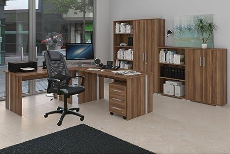 Modernes Arbeitszimmer, Buromöbel mit Drehstuhl 9-teilig Nussbaum Dekor