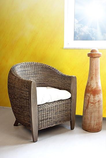 Rattansessel Clubsessel Lounge palm skin inkl. Sitzkissen Armlehnstuhl
