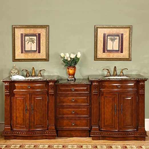 Silkroad Exclusive Stone Top Double Sink Bathroom Vanity with Cherry Finish Cabinet, 84.5-Inch