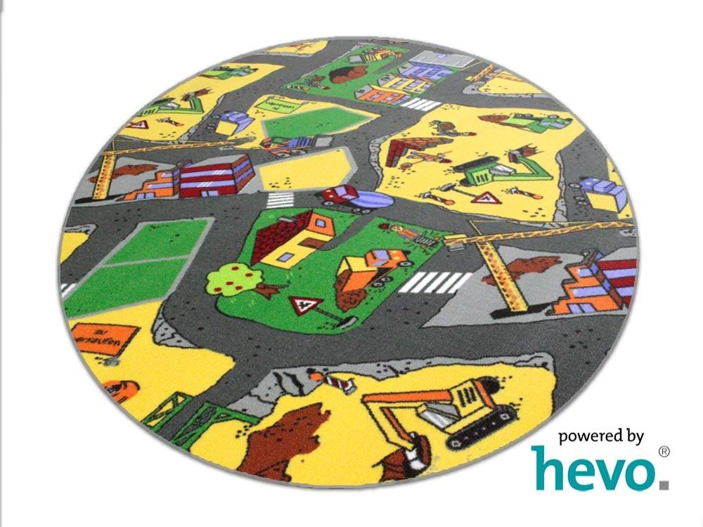 Baustelle gelb HEVO ® Teppich | Spielteppich | Kinderteppich 200 cm Ø Rund    Bewertungen