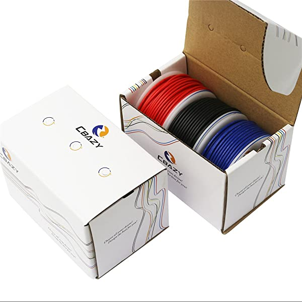CBAZYTM Hook up Wire (Stranded Wire) 20 Gauge 1007 20AWG 23M (75 Feet) PVC Electrical Copper Wire Red+Blue+Black (Color: B-(Red+Blue+Black), Tamaño: 20AWG)