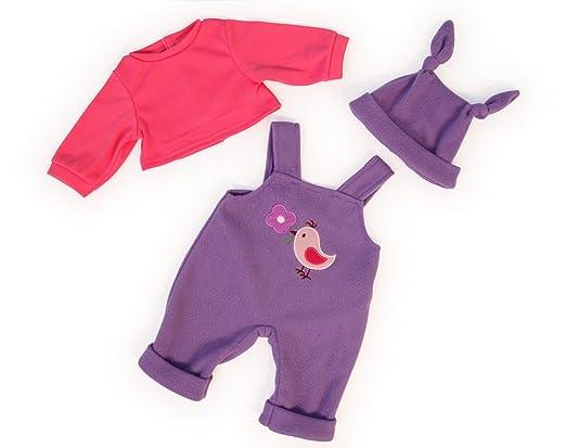 Bayer Design - 83856 - Vêtement Pour Poupée - Habit Poupon - Salopette - Pink/mauve - 38 Cm
