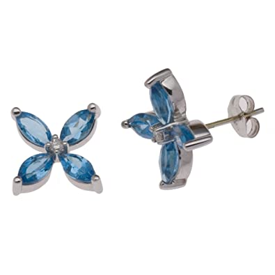 Adara 9 ct White Gold Blue Topaz and Diamond Flower Stud Earrings