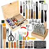 Jupean 424 Pieces Leather Working Tools and Supplies, Leather Craft Kits with Instructions, Leather Sewing Kit, Leather Tool Holder, Wooden Storage Box, Leather Stamping Set,Leather Tools and Supplies (Tamaño: 424 Pcs)