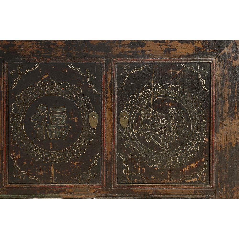 China Furniture Online Elmwood Sideboard, Vintage Tibetan Cabinet Distressed Red Finish 2