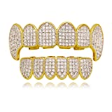 LuReen Gold Silver Twotone Iced Out CZ Vampire Fangs Grillz Set + 2 Extra Molding Bars (Grillz Set) (Color: Vampire TwoTone Set)