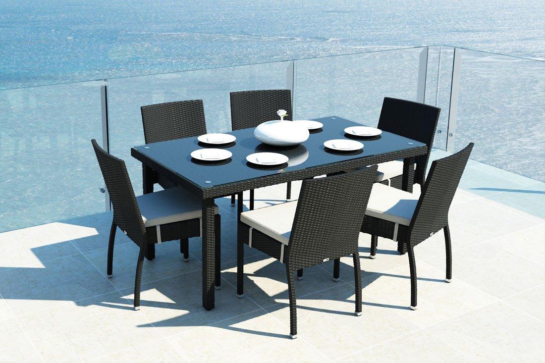 iCASA Polyrattan Gartenmöbel Esstisch Allegro + 6x Stühle Mina in schwarz