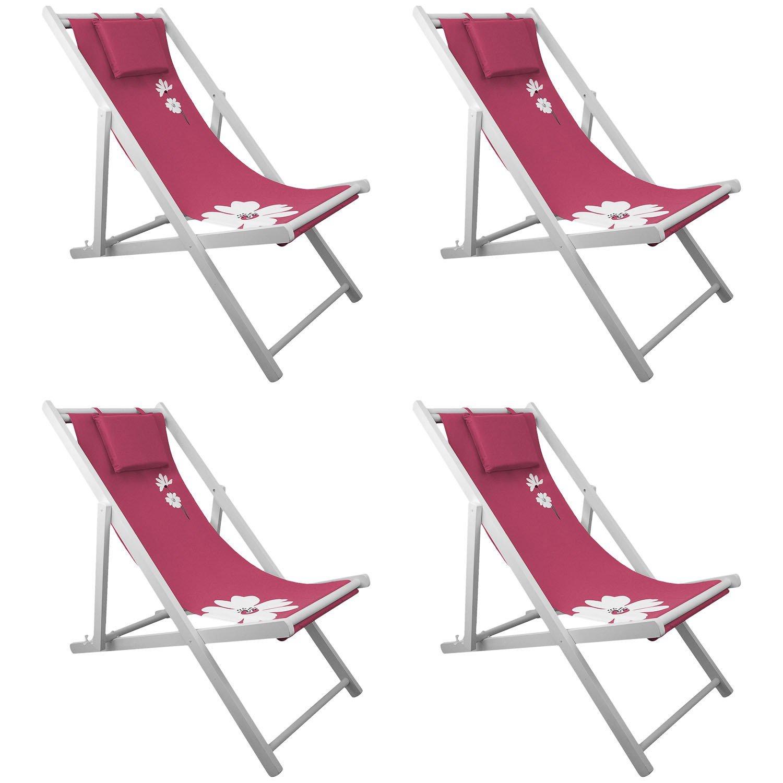 4x Liegestuhl Campingstuhl 4-fach verstellbar Strandstuhl Gartenstuhl Klappstuhl Strandliege Campingliege – Pink jetzt kaufen
