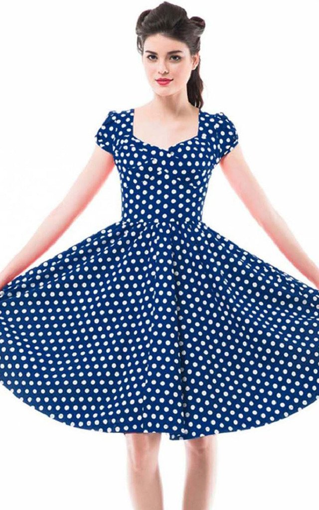 Betty Rose Women's Vintage Style Polka Dot Cap Sleeve Flare Dresses(size 2-18 ) 2