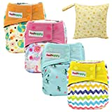 Asenappy All In One Cloth Diaper Reusable AIO Sewn Inserts with Pocket Overnight (Girl01) (Color: Girl01, Tamaño: one size)