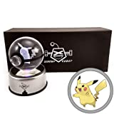 ScrewyRobot Crystal Ball 3D Night Light Color Changing Lamp 80mm (Pikachu) (Color: Pikachu, Tamaño: 80mm)