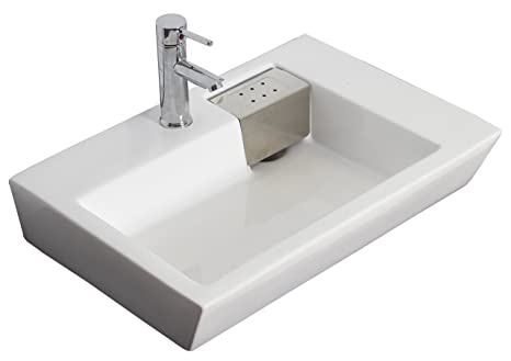 Wall Mounted Rectangle Vessel Bathroom Sink Hardware Finish: Brushed Gold