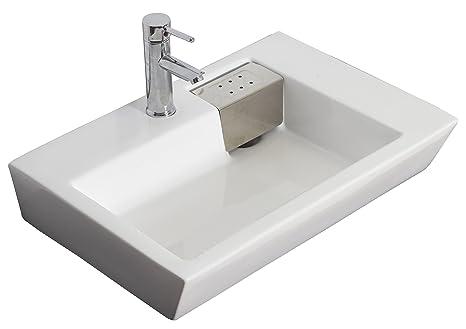 Wall Mounted Rectangle Vessel Bathroom Sink Hardware Finish: Brushed Gold