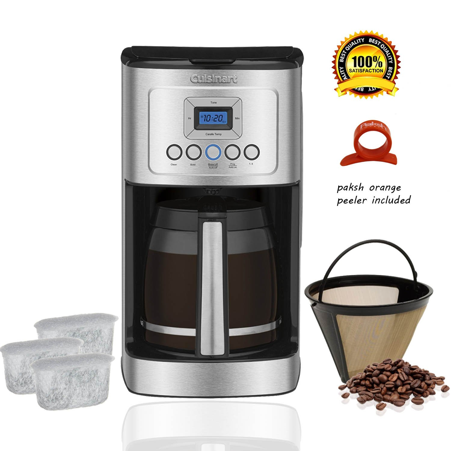 Paksh / Cuisinart DCC-3200 14 Cup Programmable Stainless Steel Coffee Maker Machine with Glass Coffee Carafe with Gold Tone Filter GTF and 2 Pack Charcoal Water Filters