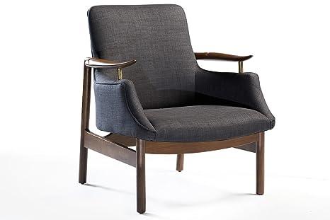 Sessel Tycho Stoff grau Loungesessel Loungestuhl Leder by DanForm