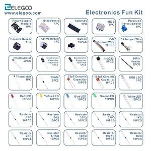 Elegoo EL-CK-002 Electronic Fun Kit Bundle with Breadboard Cable Resistor, Capacitor, LED, Potentiometer (235 Items) (Color: B)E2)
