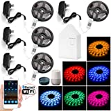 20M Wifi Bluetooth Network RGB Led Strip Lights, 600LEDs (4x150Led) 5050 Stripes Kit Smart APP Controlled, Comes with Bluetooth Mesh Smart Bridge, Compatible with Alexa & Google Assistant (Color: 4 PACK(BT mesh controllers))