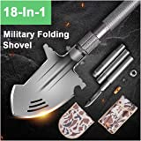 Wonner Military Folding Shovel Multitool Compact Backpacking Tactical Entrenching Ultimate Survival Tool for Hunting, Camping, Hiking, Fishing (Black) (Color: Black)