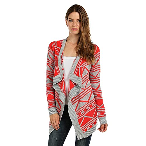 ColorMC Womens Aztec Cascade Draped Trim Knit Sleeve Cardigan