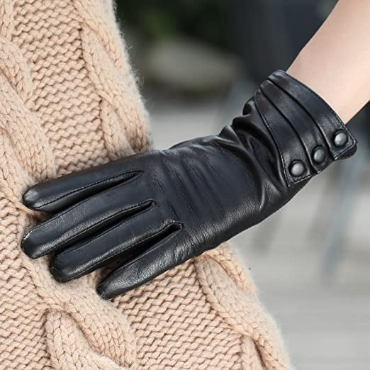 Hot Girls Clothing & Accessories : Bestselling Women's Nappa Leather Plush Lined Winter Gloves Leather Covered Buttons